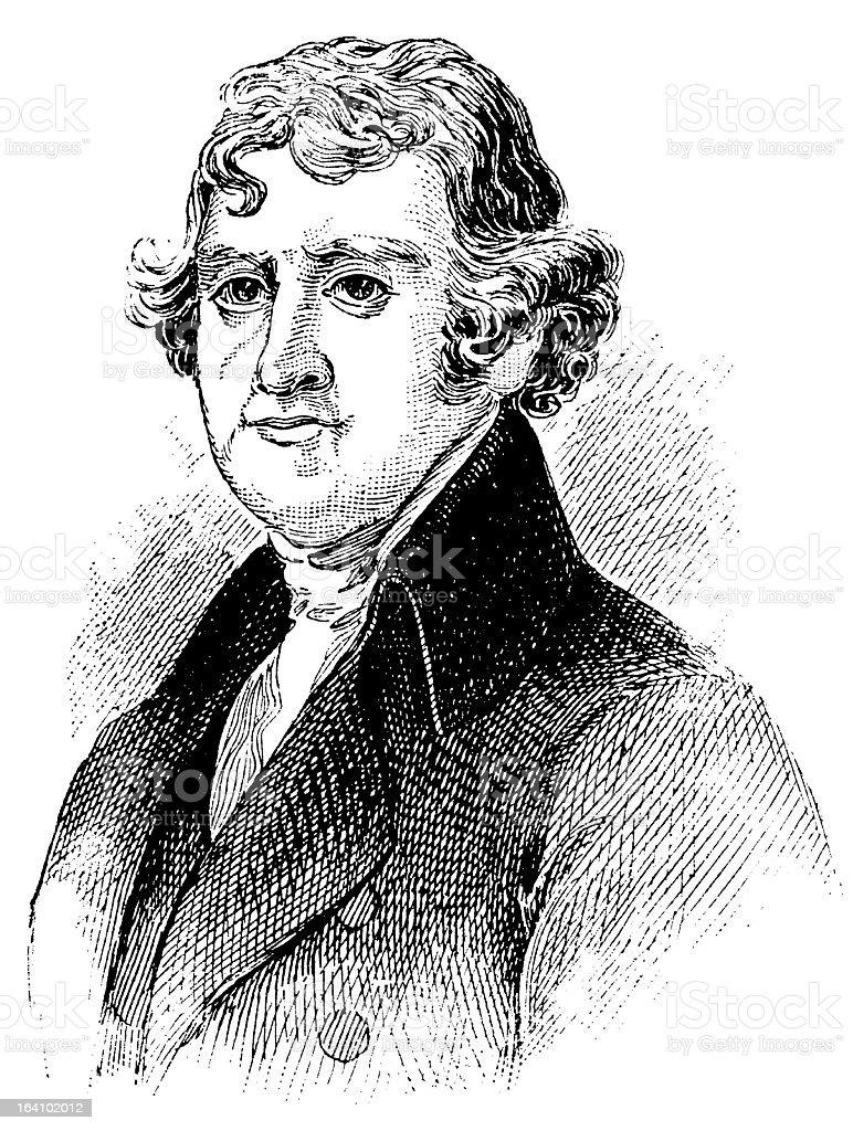 Thomas Jefferson - Antique Engraved Portrait royalty-free stock vector art