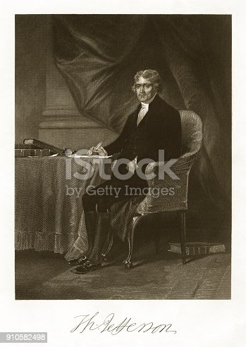 Very rare, beautifully detailed full length engraved portrait of Thomas Jefferson from National Portrait Gallery of Eminent American, Volume I, Published in 1862. Image also include his signature. Copyright has expired on this artwork. Digitally restored.