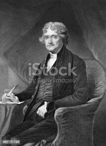 Thomas Jefferson (1743-1826) on engraving from 1873. American Founding Father, the principal author of the Declaration of Independence and third President during 1801–1809. Engraved by unknown artist and published in ''Portrait Gallery of Eminent Men and Women with Biographies'',USA,1873.