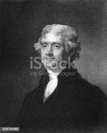 Thomas Jefferson (1743-1826) on engraving from 1835. American Founding Father, the principal author of the Declaration of Independence and third President during 1801–1809. Engraved by J.B.Forrest and published in ''National Portrait Gallery of Distinguished Americans Volume II'',USA,1835.