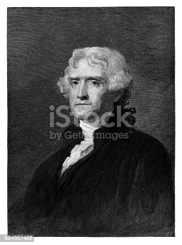 Thomas Jefferson - Scanned 1887 Engraving