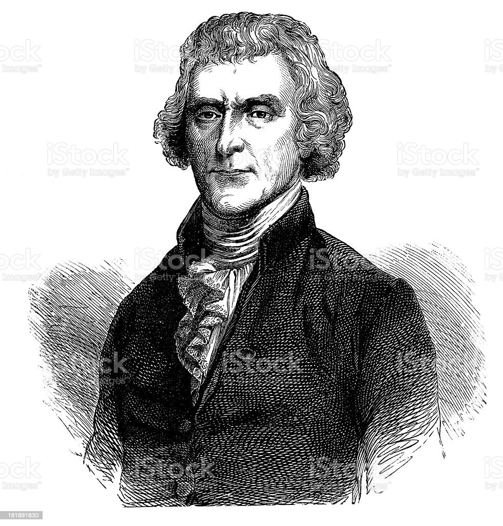 Thomas Jefferson, third President of United States. royalty-free stock vector art
