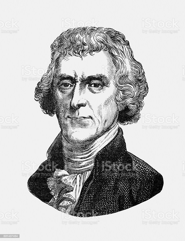 Thomas Jefferson US President known for inventing swivel chair vector art illustration