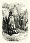 Vintage engraving of Thomas Mayhew and the Narragansett sachem
