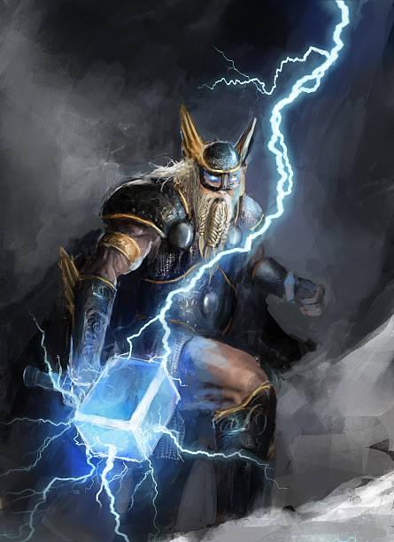 Thor, the god of lightning, in battle viking god of lightning thor thor hammer stock illustrations