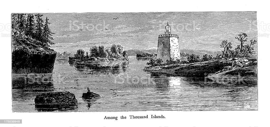 Thousand Islands, USA | Historic American Illustrations royalty-free stock vector art
