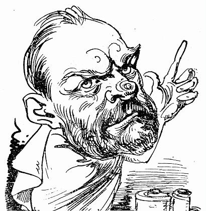 Threatening men's head, with the index finger facing upwards