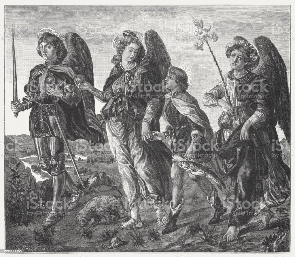 Tres arcángeles y Tobias, pintado (c.1470) por Francesco Botticini, Uffizi - ilustración de arte vectorial