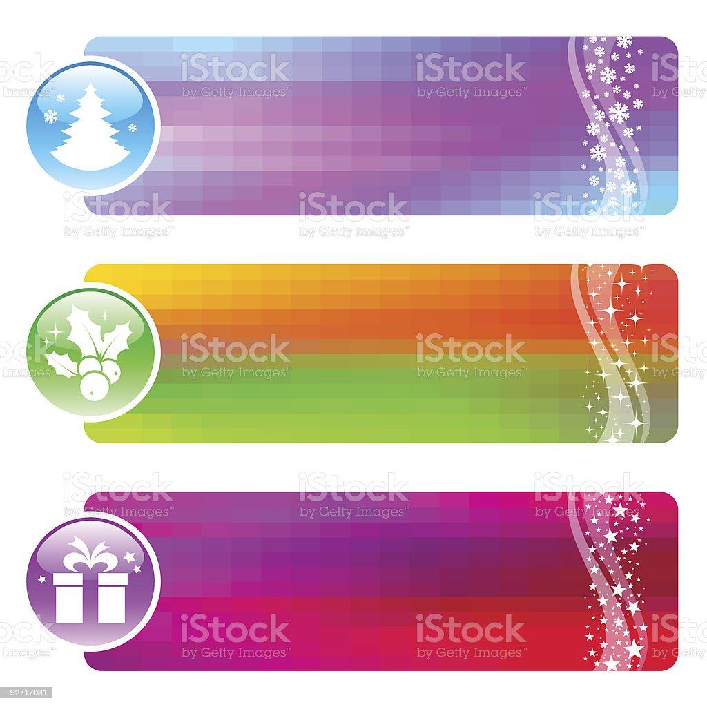 Three banners with Christmas simbols royalty-free stock vector art