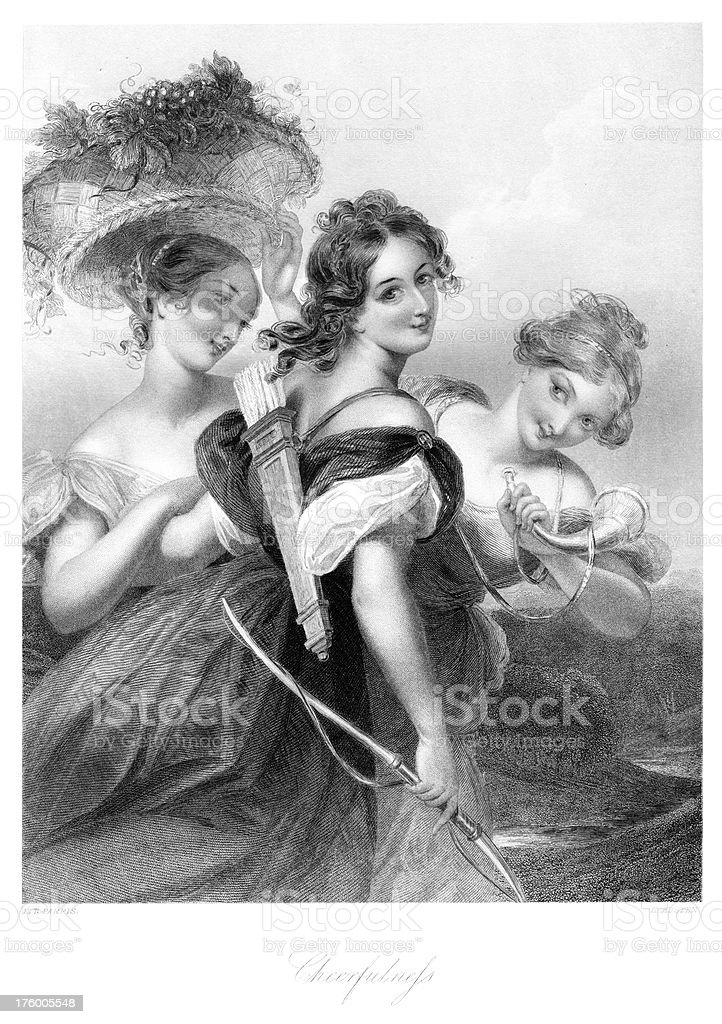 Three Beautiful Young Victorian Women royalty-free stock vector art