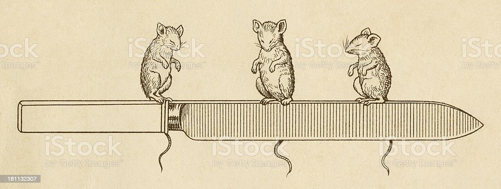 Three blind mice with a carving knife royalty-free stock vector art