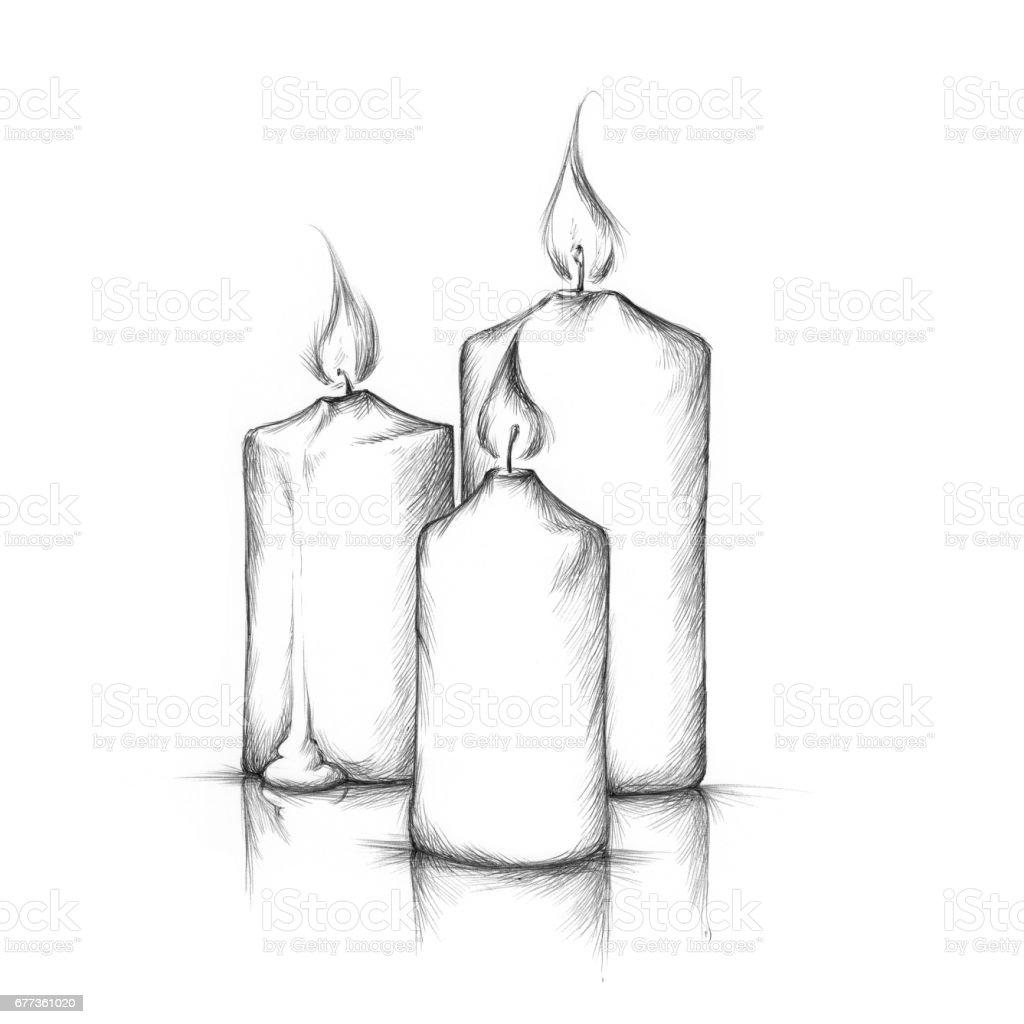 Three burning candles – Vektorgrafik