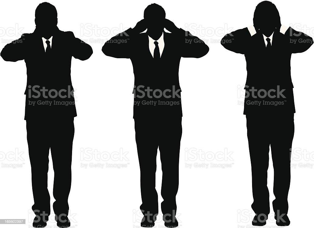 Three business monkies royalty-free stock vector art