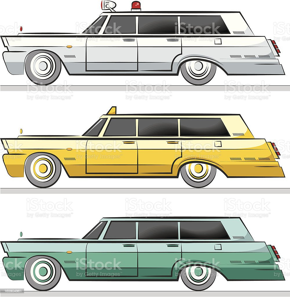 three car with various functions vector art illustration