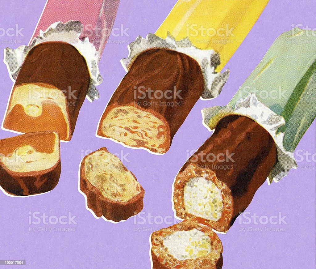 Three Chocolate Candy Bars royalty-free three chocolate candy bars stock vector art & more images of candy