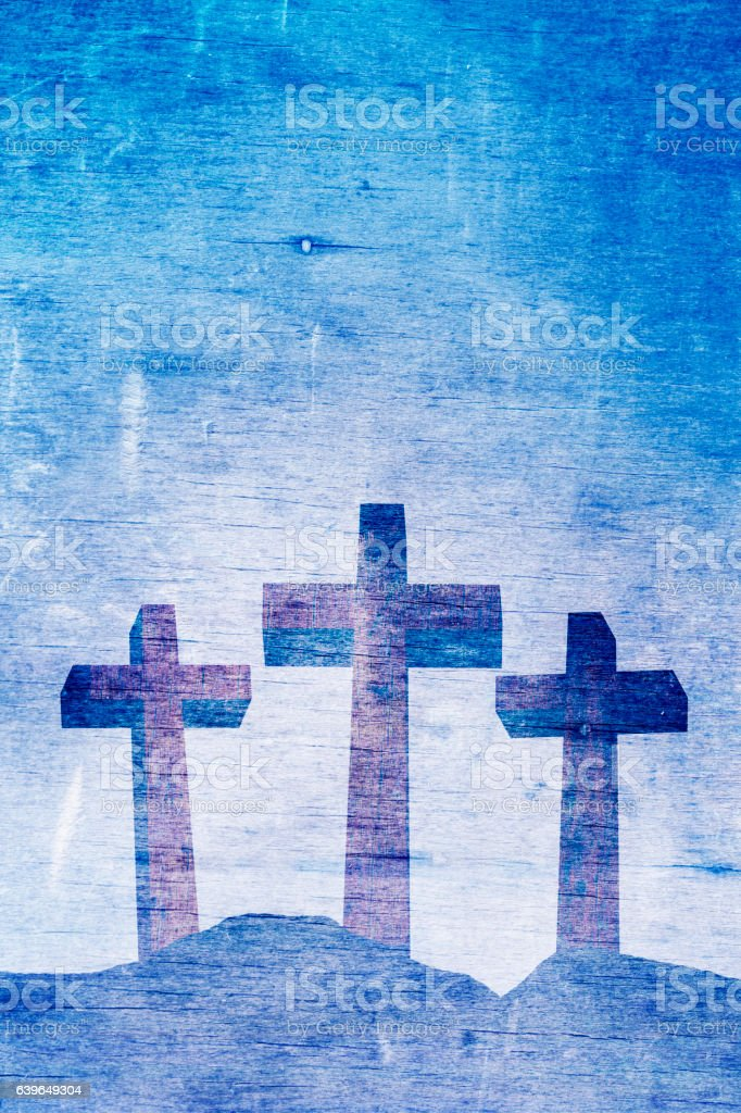 Three Christian Crosses on Calvary Background Illustration vector art illustration