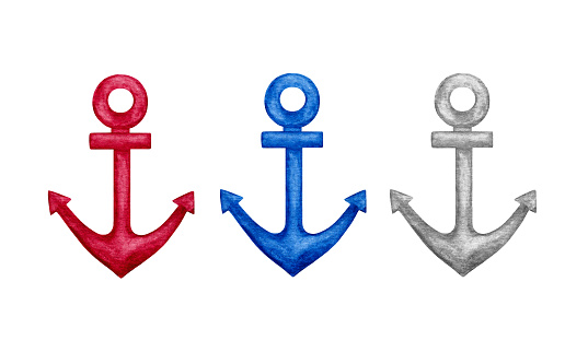 Three color watercolor anchors. Hand drawn nautical marine elements for design Isolated on white background. Sea theme