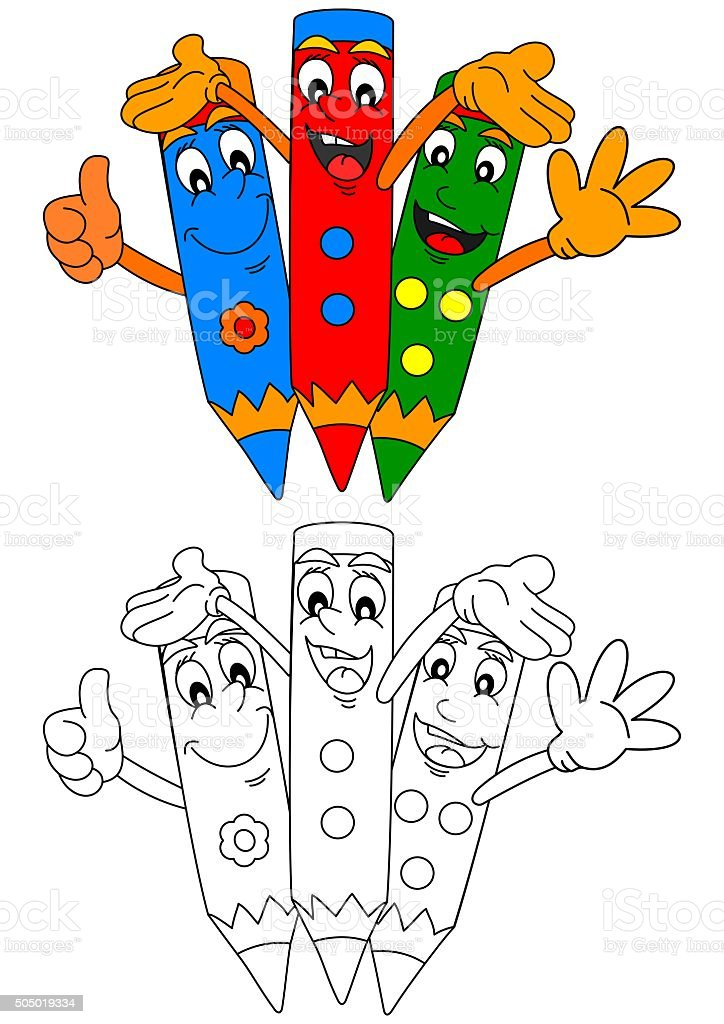 - Three Colored Pencils Smiling As Coloring Books For Kids Stock Illustration  - Download Image Now - IStock