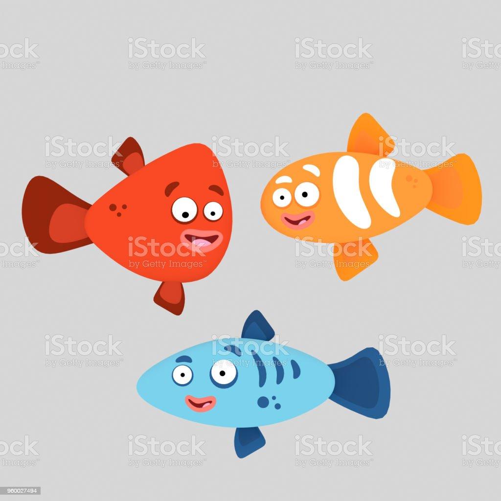 Tres coloridos peces - ilustración de arte vectorial