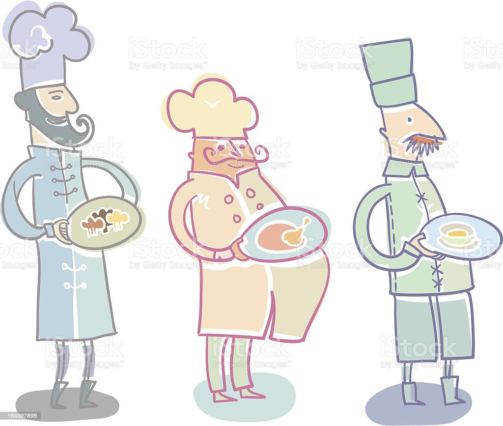 Three Cooks royalty-free stock vector art