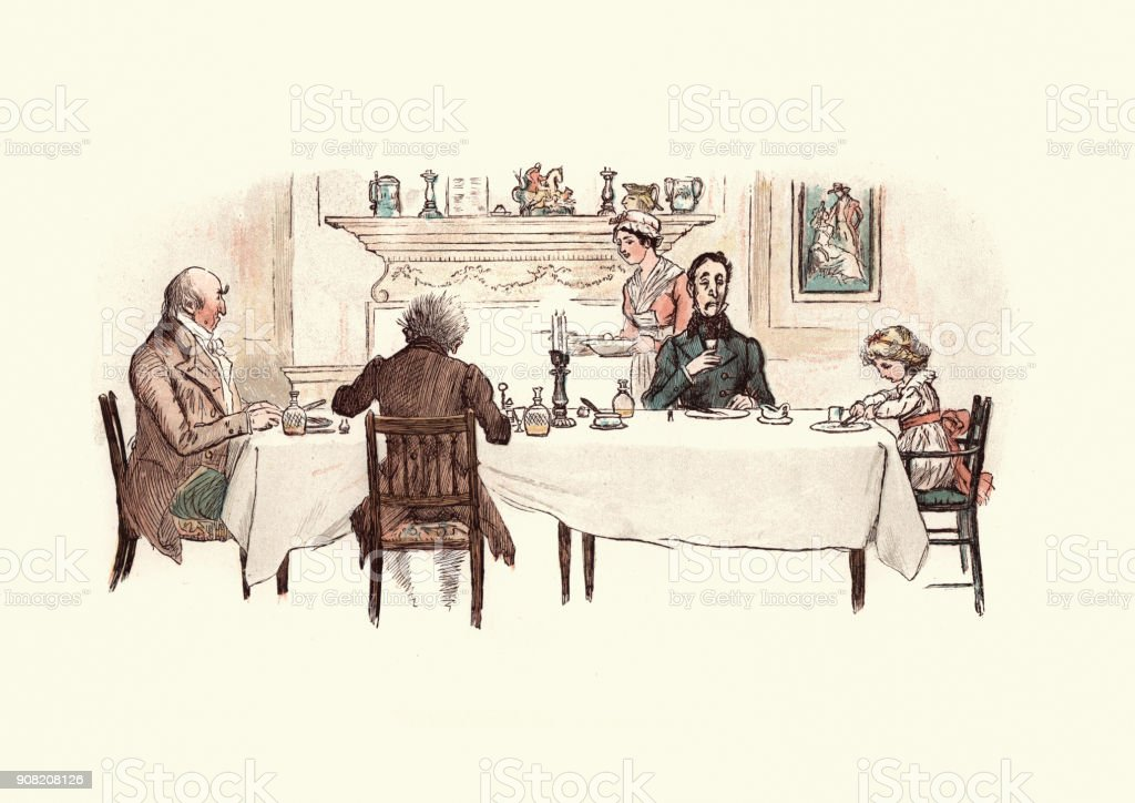 Three Curmudgeons eating a meal with a small child vector art illustration