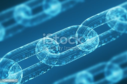Three diagonal digital chains on a blue background. Blockchain technology concept. Mining and cryptocurrency. Close up. 3d rendering
