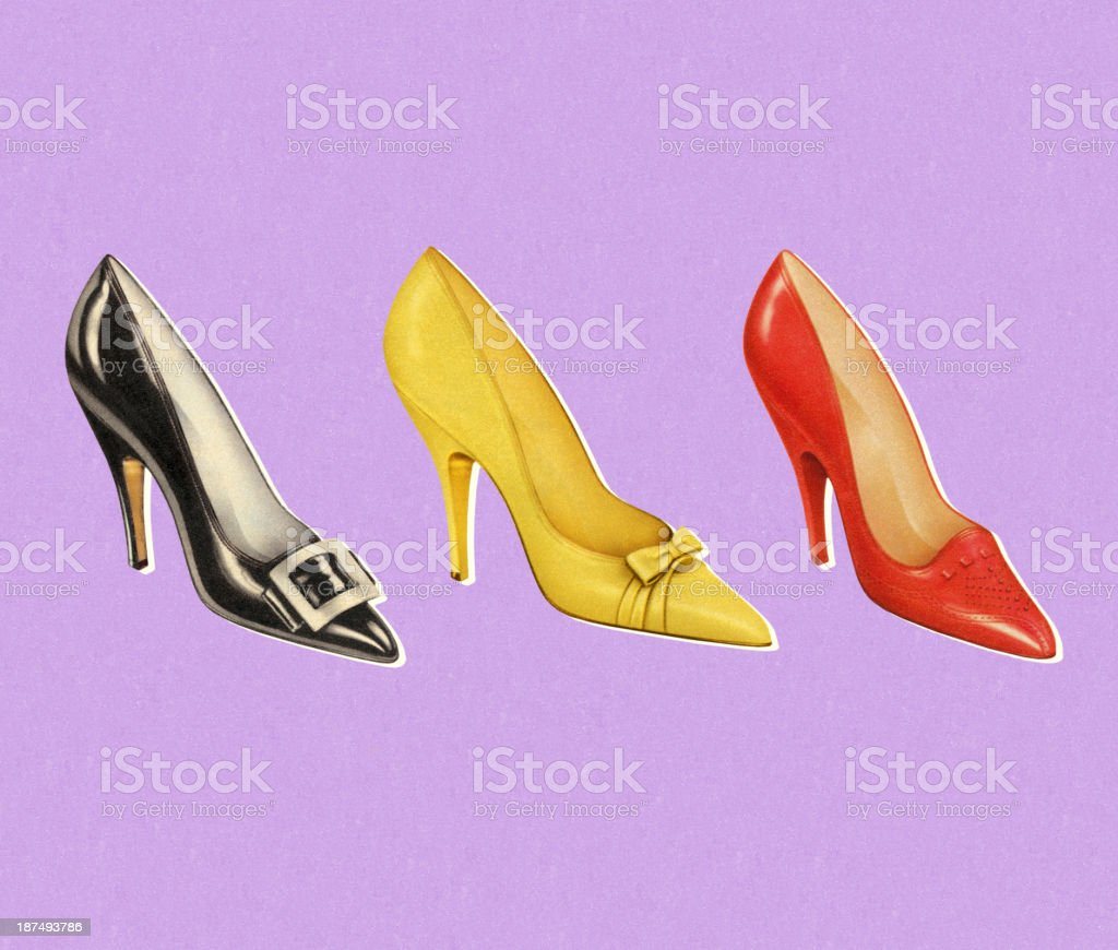 Three Different  Color Pumps royalty-free stock vector art