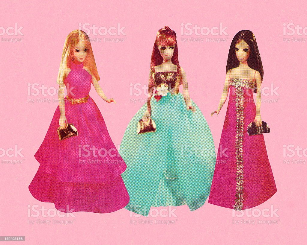 Three Dolls Wearing Formal Gowns royalty-free stock vector art