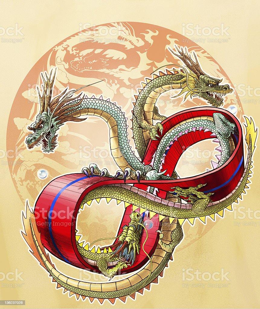 Three dragons on  the ring of mebius vector art illustration
