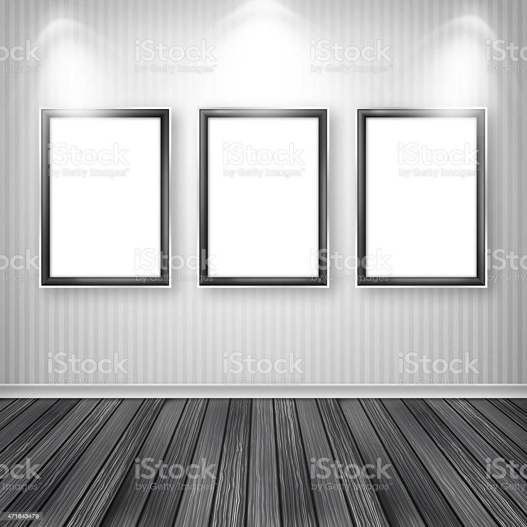 three empty frames on a wall royalty free stock vector art - Empty Frames On Wall