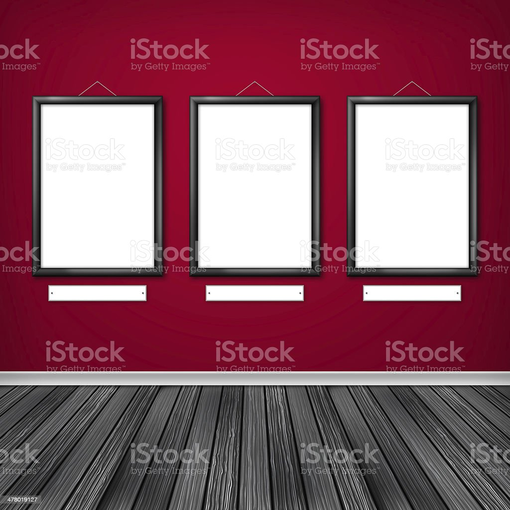 Three empty frames on a wall royalty-free stock vector art