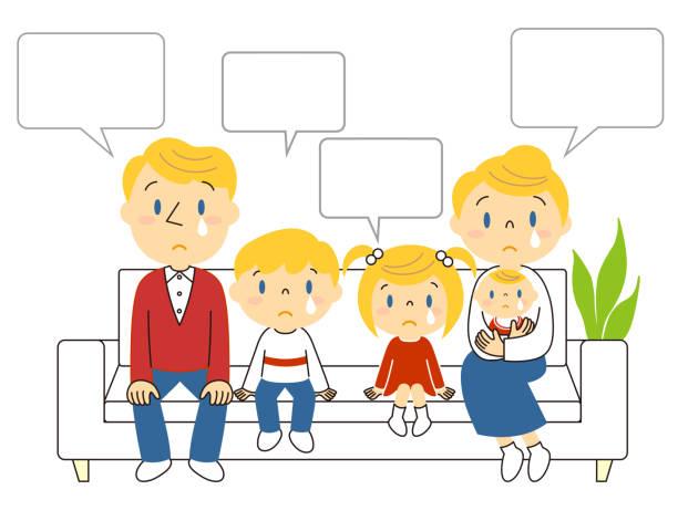 ソファーで泣いている3人家族 イラスト Illustration of a family of three crying on the sofa ベクターアートイラスト