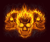 Three fire skulls
