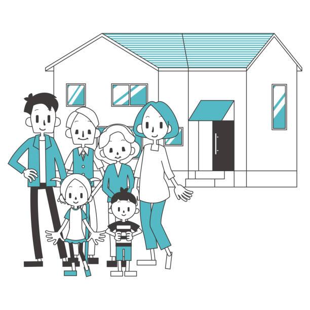 3 世代家族・家の図 ベクターアートイラスト