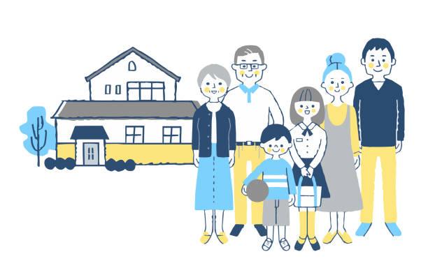 家の前に立つ3世代家族 - 家族 日本人点のイラスト素材/クリップアート素材/マンガ素材/アイコン素材