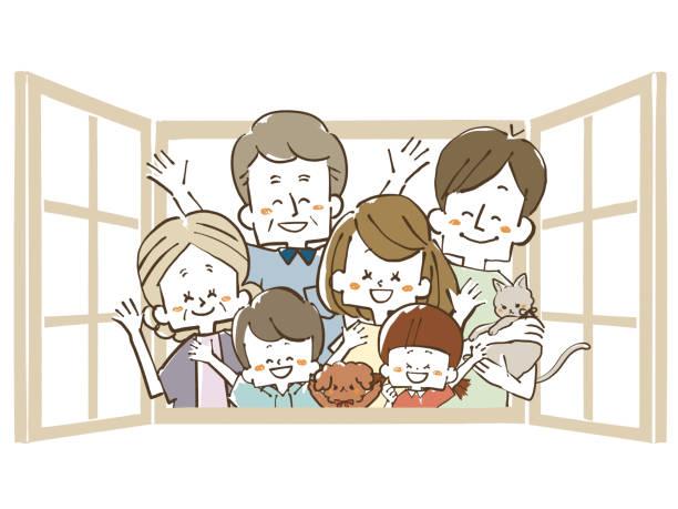 ilustraciones, imágenes clip art, dibujos animados e iconos de stock de tres generaciones de familia-waving a través de la ventana - nieta
