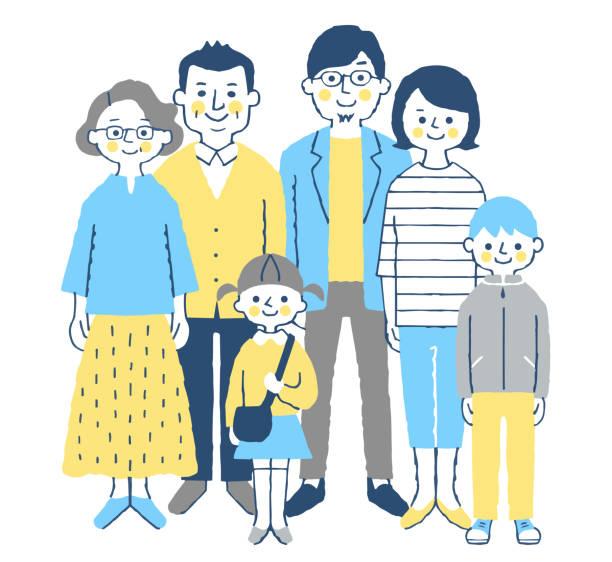 笑顔で正面に向き合う3世代家族 - 家族 日本人点のイラスト素材/クリップアート素材/マンガ素材/アイコン素材
