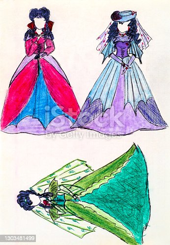 istock Three girls in beautiful old-fashioned dresses. Girl hand drawing. 1303481499