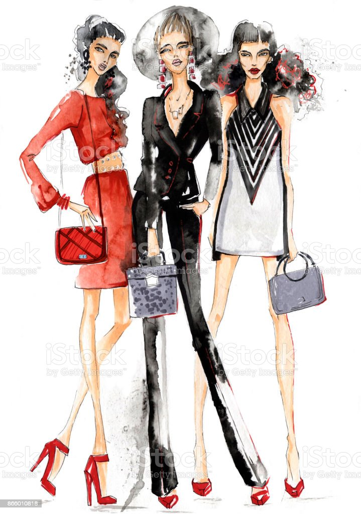 Three girls with handbags. vector art illustration