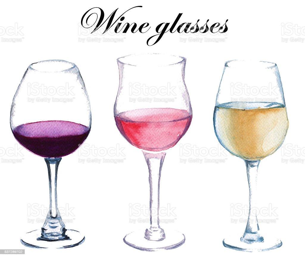 Three glasses of wine. isolated. watercolor illustration. vector art illustration