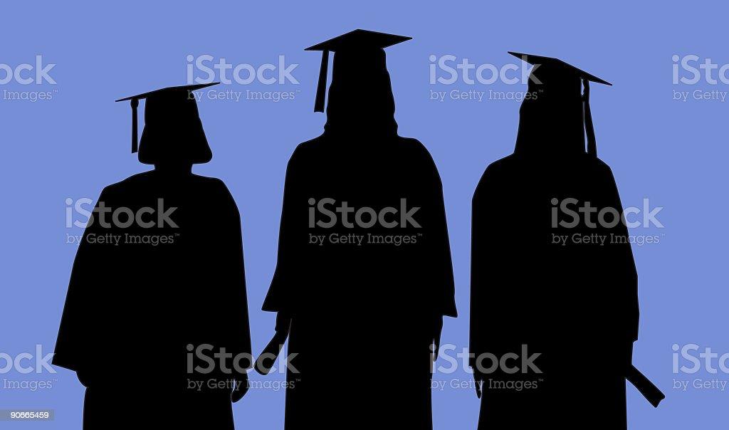Three Graduates (Vector) royalty-free stock vector art