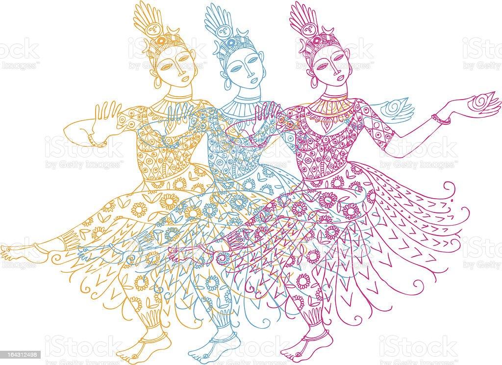Three  Indian dancers vector art illustration