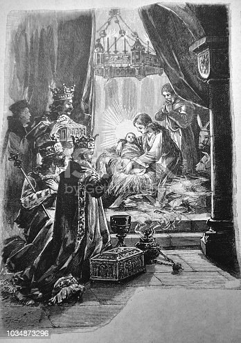 Three kings welcome the birth of Jesus Christ - 1895