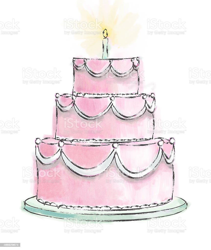 A three layer birthday cake with a candle vector art illustration