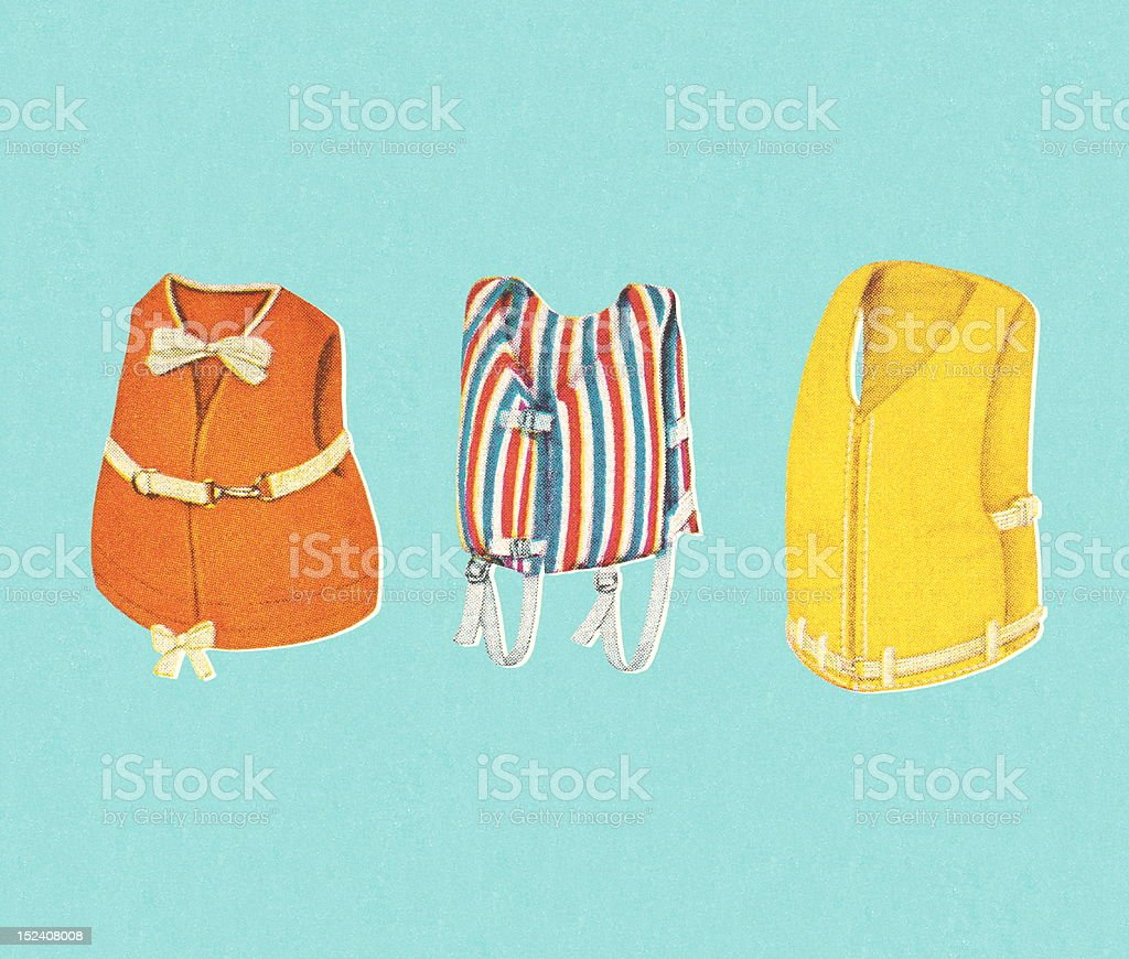 Three Life Vest royalty-free stock vector art