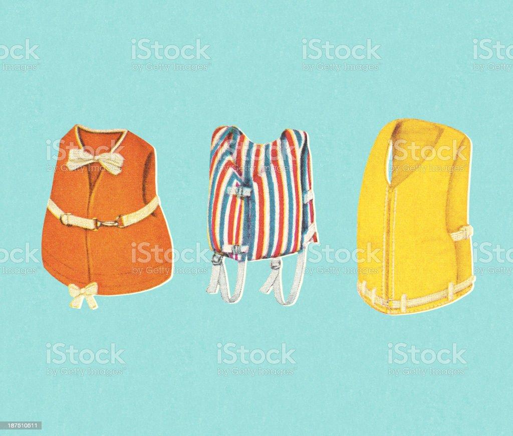 Three Life Vests vector art illustration