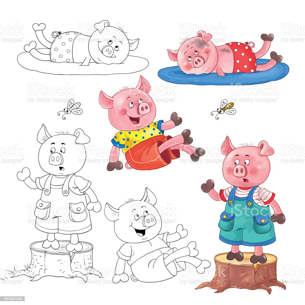 Three little pigs fairy tale coloring page cute and funny cartoon characters illustration