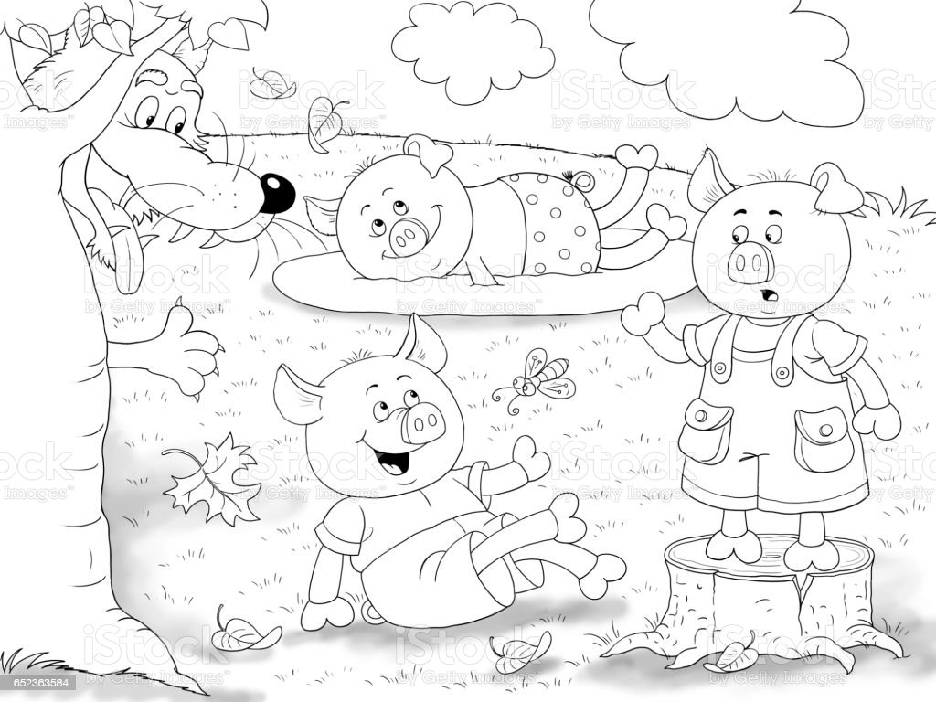 Three Little Pigs Fairy Tale Coloring Page Cute And Funny Cartoon ...