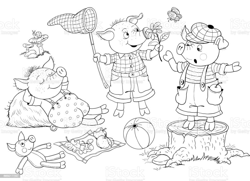 three little pigs fairy tale illustration for children coloring page cute and funny cartoon. Black Bedroom Furniture Sets. Home Design Ideas