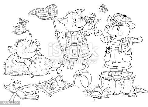 Three Little Pigs Fairy Tale Illustration For Children